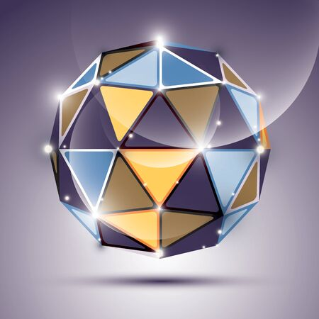 gleam: Abstract 3D gleam sphere with geometric, glossy orb created from triangles Nightclub and event theme.