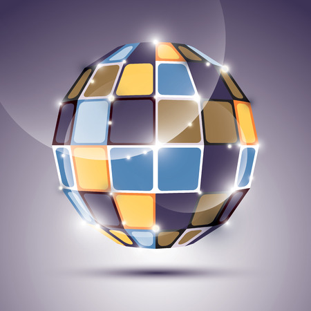 mirror ball: Espejo bola brillante 3D creado a partir de figuras geom�tricas. Vector festivo ilustraci�n tridimensional piedra preciosa brillante.