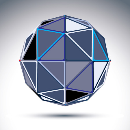 visual effect: Complicated gray urban spherical object, 3d fractal mirror ball constructed from rectangular triangles with outline, geometric illustration with a kaleidoscope visual effect.  Illustration