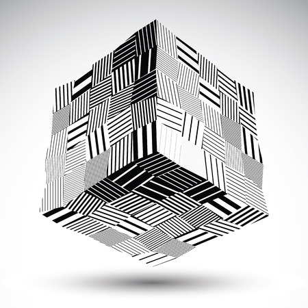 undulate: Undulate squared eps8 contrast object with black parallel lines. Symmetric rectangular object for graphic design. Black and white stencil model.