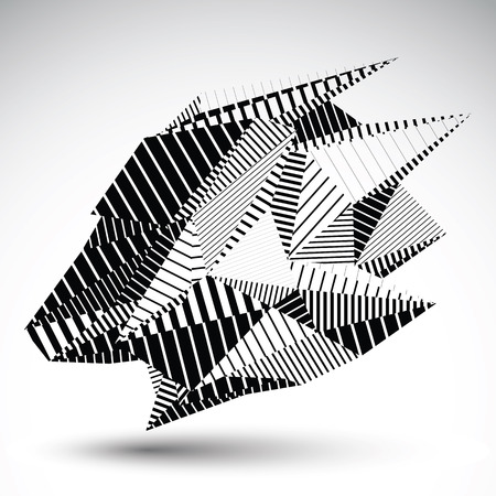 vertex: Complicated contrast eps8 figure constructed from triangles with parallel black lines. Cybernetic striped sharp element, monochrome asymmetric illustration for technology projects.