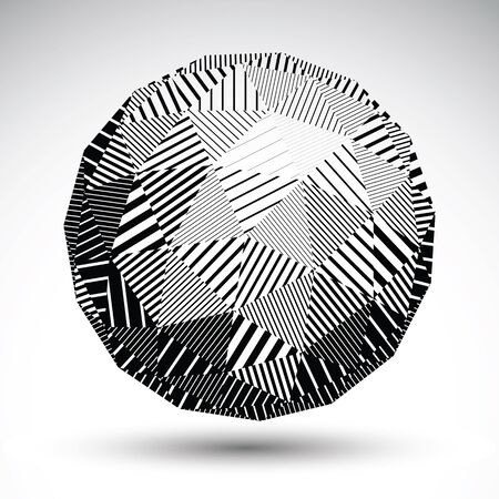 Triangular abstract dimensional striped sphere, vector digital eps8 single color object isolated on white background. Illustration