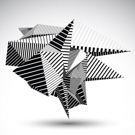 misshapen: Cybernetic contrast element constructed from geometric figures with parallel lines. Misshapen striped sharp object for technology projects and graphic design.