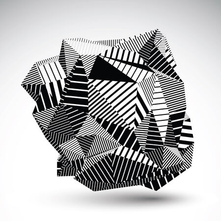 multifaceted: Decorative complicated unusual eps8 figure constructed from triangles with parallel black lines. Striped multifaceted asymmetric contrast element, monochrome illustration for technology projects.