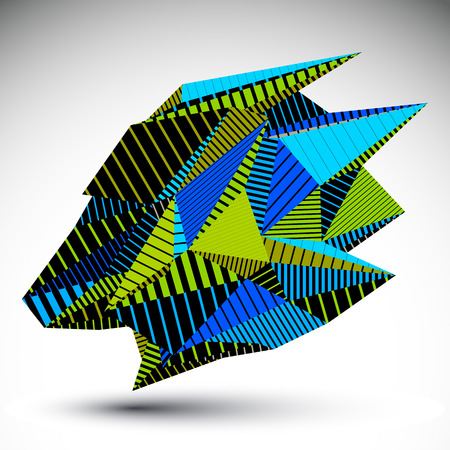 constructed: Complicated contrast eps8 figure constructed from triangles with parallel lines. Cybernetic striped sharp element, Bright asymmetric illustration for technology projects.