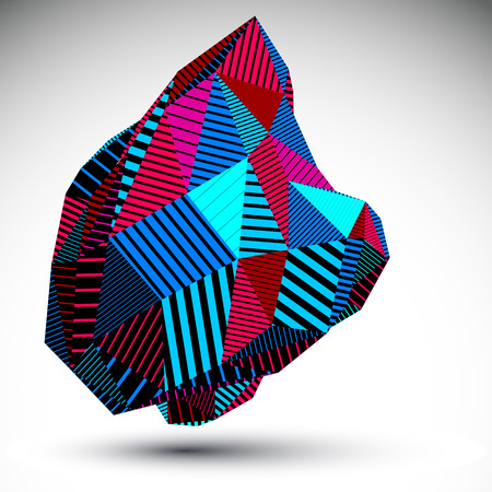 misshapen: Multifaceted asymmetric contrast figure with parallel lines. Striped colorful misshapen abstract vector object constructed from graffiti triangles and rectangles. Bright stencil element.