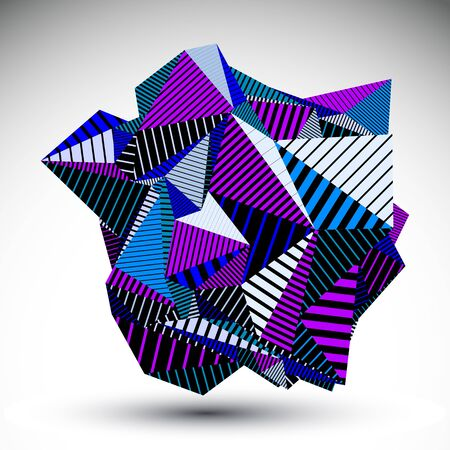 multifaceted: Decorative complicated unusual eps8 figure constructed from triangles with parallel black lines. Purple striped multifaceted asymmetric contrast element, colorful illustration for technology projects.