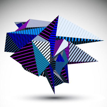 misshapen: Cybernetic contrast element constructed from geometric figures with parallel lines. Purple misshapen striped sharp object for technology projects and graphic design. Illustration