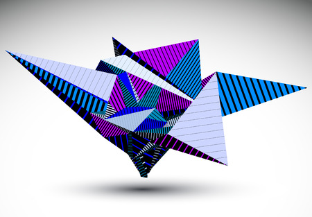 misshapen: Cybernetic polygonal contrast element constructed from simple geometric figures. Purple misshapen striped acute object for graphic design. Colorful stencil model.