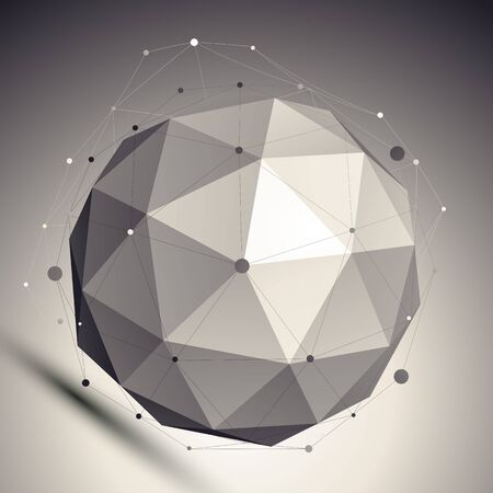 3D mesh shadow style abstract background, origami futuristic template with globe and asymmetric lines mesh. Vector
