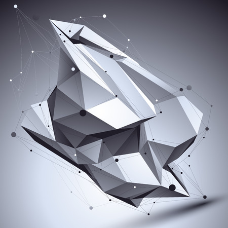 vertex: 3D vector abstract technological illustration, perspective geometric contrast background with asymmetric wireframe.