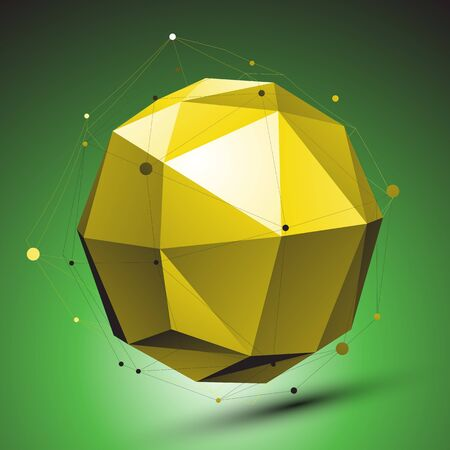 Abstract 3D structure, green vector network backdrop, yellow spherical figure with lines mesh placed over shaded background. Vector
