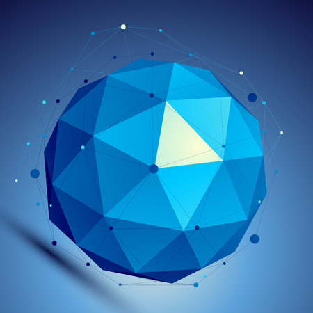 Blue 3D modern perspective abstract background, origami facet spherical structure with wire network. Vector