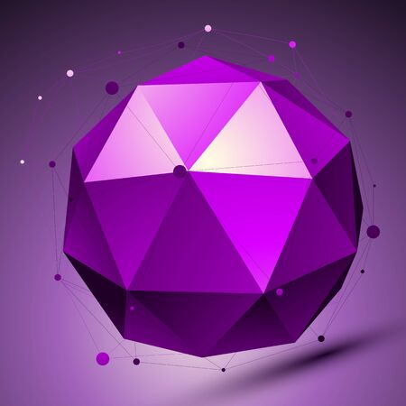 Purple 3D modern stylish abstract background, origami futuristic sphere with lines mesh.