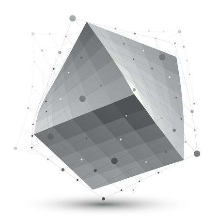 Искаженные 3D абстрактный объект с линиями и точками, изолированных на белом фоне, необычной пространственной куб.