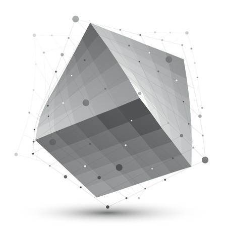 Distorted 3D abstract object with lines and dots isolated on white background, unusual spatial cube. Illustration