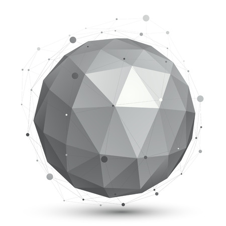 Spherical vector monochrome digital object, dimensional technology element with wireframe.