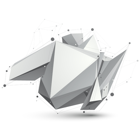 apex: Triangular abstract grayscale 3D shape, vector digital lattice object.