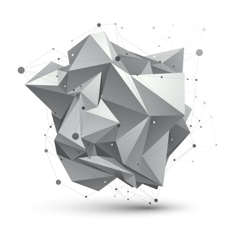 deformed: Abstract 3D structure polygonal vector network object, grayscale art deformed figure. Illustration
