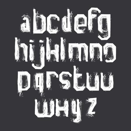 verb: Letras de pincel grunge blanco en min�sculas, alfabeto vector pintado a mano.
