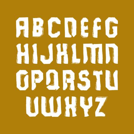 verb: Vector elegantes letras min�sculas cepillo, fuente manuscrita, sans serif tipograf�a blanca sobre fondo amarillo.