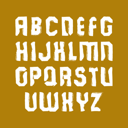 serif: Vector stylish brush lowercase letters, handwritten font, sans serif white typeset on yellow background.