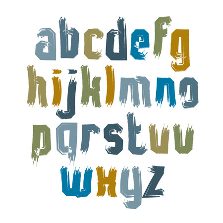 verb: Vector colorful hand-painted letters isolated on white background, stroked lowercase art script.