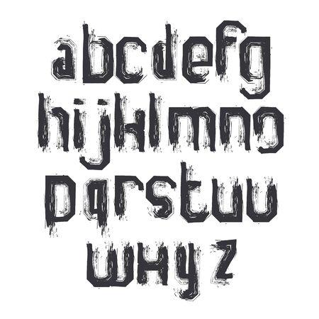 verb: Cartas vectoriales alfabeto conjunto, la escritura monocrom�tica dibujado a mano, min�sculas cepillado sucias.