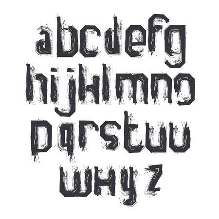 verb: Vector alphabet letters set, hand-drawn monochrome script, dirty brushed small letters.
