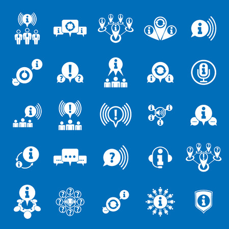 help: Information analyzing collecting and exchange theme icon set, analyze and solution, vector conceptual unusual symbols for your design. Illustration