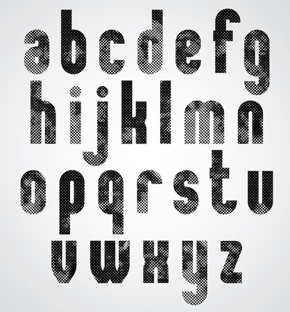 Black dotty graphic lower case letters, industrial font.