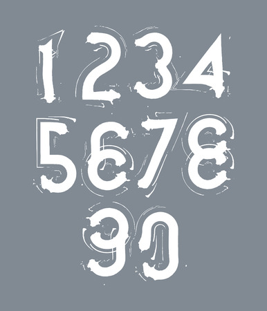 Handwritten white contemporary vector digit set, doodle hand-painted numerals. Vector