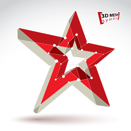 pop star: 3d mesh soviet red star sign isolated on white background, colorful elegant lattice superstar icon, dimensional tech USSR symbol, bright clear  vector illustration, pop star icon. Illustration