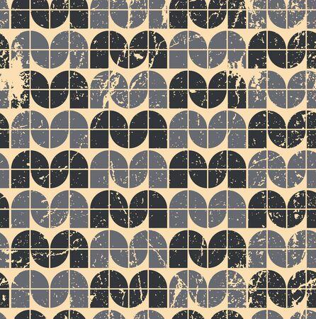 crannied: Black ornamental worn textile geometric seamless pattern, vector infinite retro background.