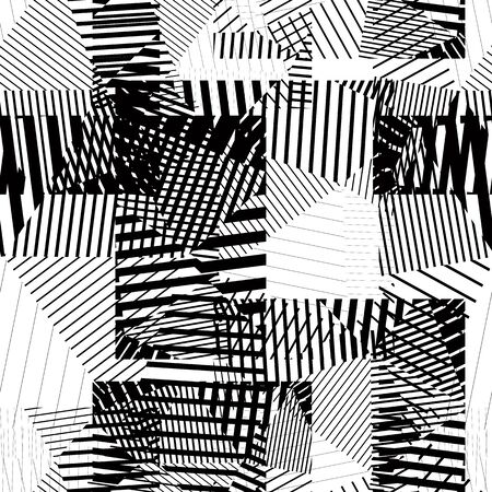 Black and white endless vector striped tiling, fashionable textured background. Vector