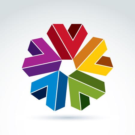 attribute: Vector abstracte vinkjes. Geometrische kleurrijke symbool op een witte achtergrond, corporate attribuut.