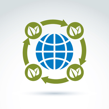 ecological environment: Globe with leaves rotating icon, circulation ecological environment theme concept, vector conceptual unusual symbol for your design.
