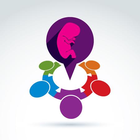 embrion: Ilustraci�n vectorial de una burbuja de di�logo y un embri�n beb�. Diferentes nacionalidades charla sobre el embarazo y el aborto - foro social internacional en el tema m�dico. Reuni�n Obstetricia. Vectores