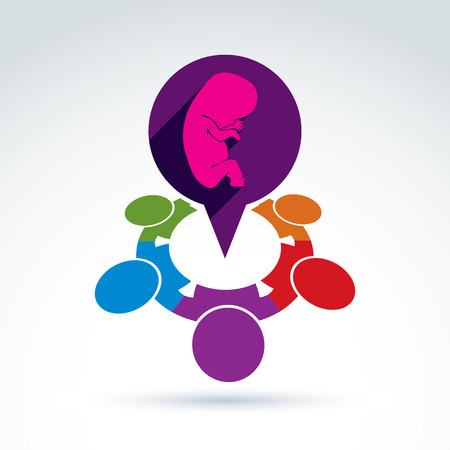 nationalities: Vector illustration of a speech bubble and a baby embryo. Different nationalities chat on pregnancy and abortion – international social forum on medical theme. Obstetrics meeting.