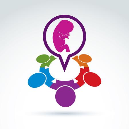 embrion: Ilustraci�n vectorial de una burbuja de di�logo y un embri�n de beb�. Diferentes nacionalidades charla sobre el embarazo y el aborto - foro social internacional en el tema m�dico. Reuni�n Obstetricia.