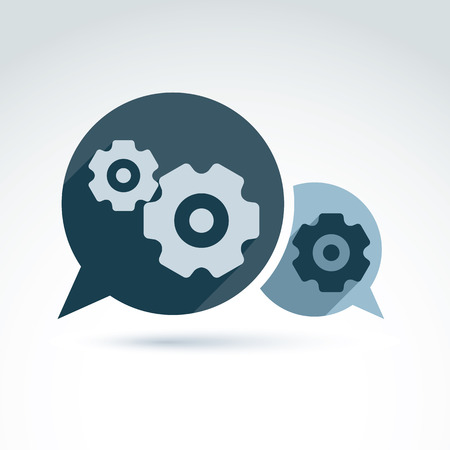 Vector illustration of gears - enterprise system theme, organization strategy concept. Cog-wheels and moving parts placed in a speech bubble – chat on business process and management.  Vector