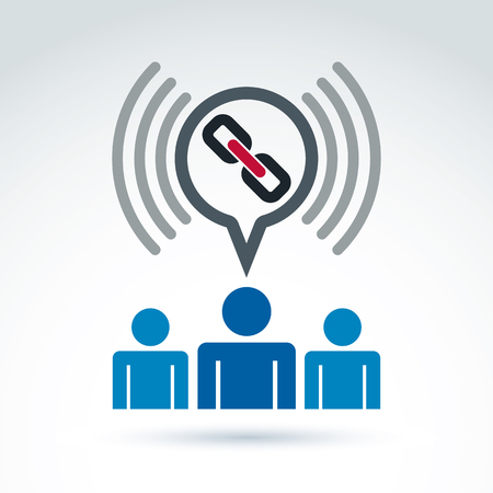 symbol people: Podcast icon with a link symbol. People chat on social relationship. Vector speech bubble sign.