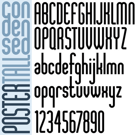 pr: Poster black bold condensed tall font and numbers.