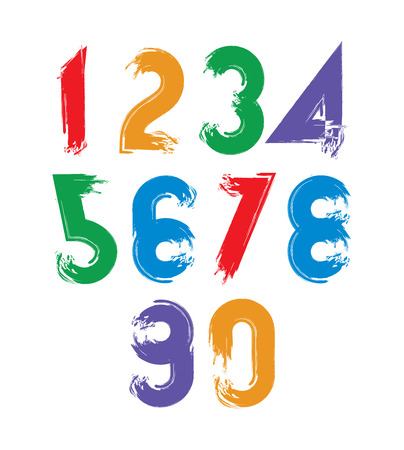 Calligraphic brush numbers, hand-painted bright vector numeration. Vector