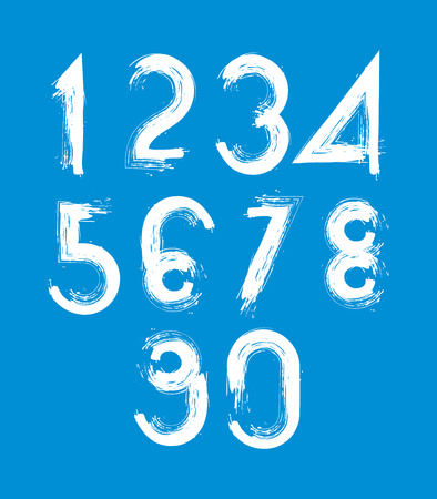 Handwritten white vector numbers isolated on blue background, painted modern numbers set. Vector