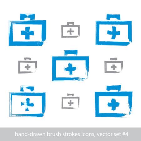 erste hilfe koffer: Set Pinsel Zeichnung einfachen blauen Erste-Hilfe-Kit, Medizin Symbole mit echten handgezeichneten Tinte Pinsel eingescannt und vektorisiert erstellt, Schlaganf�lle Freihand-Icons.