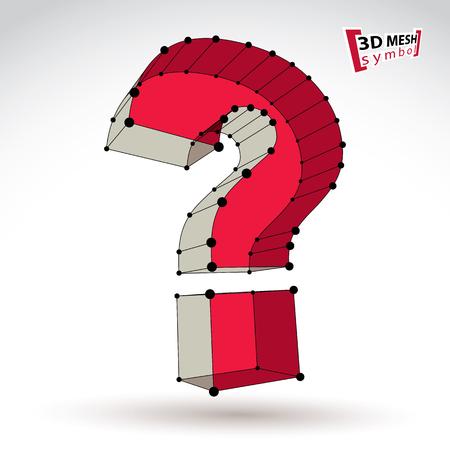 punctuation mark: La malla 3D con estilo web signo pregunta aislado sobre fondo blanco, colorido icono elegante carcasa de consulta, marca de puntuacion dimensional boceto tecnolog�a con l�neas conectadas negro, brillante claro ejemplo del vector.