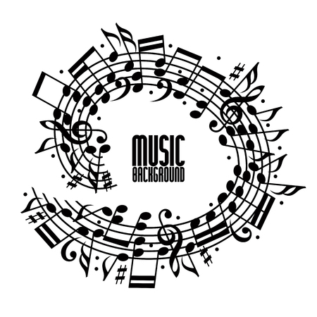 musical notes background: Vector black rounded stave with musical notes on white background, decorative musical notation.
