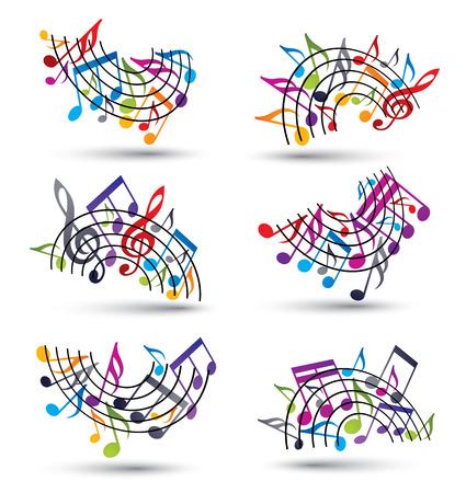 notas musicales: Bright vector alegre pentagramas con las notas musicales sobre fondo blanco, decorativo conjunto de arco principal de s�mbolo de notaci�n musical.