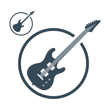 acoustic guitar: Electric guitar music icons isolated, single color vector music theme symbol for your design, 2 versions set.